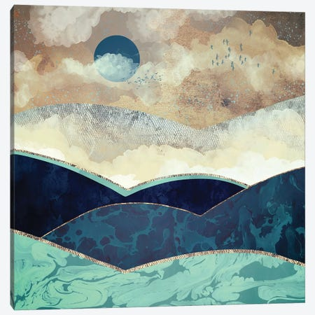 Blue Moon Canvas Print #SFD8} by SpaceFrog Designs Canvas Art