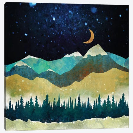 Snow Night Canvas Print #SFD93} by SpaceFrog Designs Canvas Art