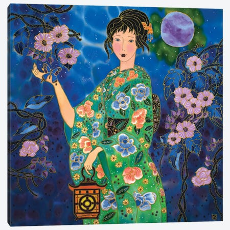 Magical Night And Blue Butterflies Canvas Print #SFI110} by Sidorov Fine Art Canvas Wall Art