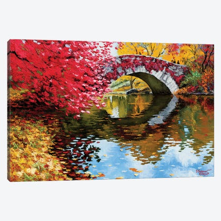 Gapstow Bridge Red Fall Canvas Print #SFI11} by Sidorov Fine Art Art Print