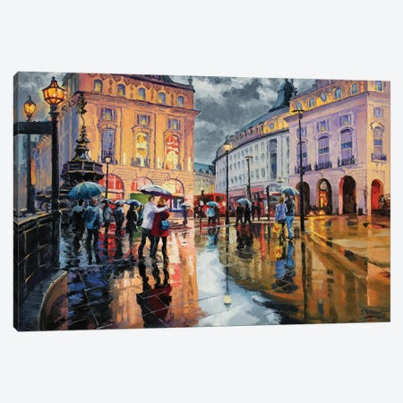 A Rainy Outing At Piccadily Circus Canvas Print #SFI1} by Sidorov Fine Art Canvas Print