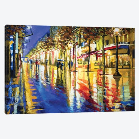 Parisian Night Glow  Canvas Print #SFI26} by Sidorov Fine Art Canvas Print
