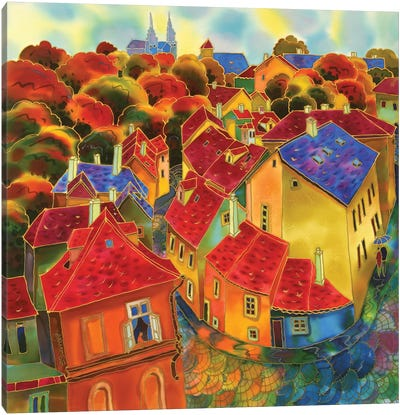 Red Roofs Prague Canvas Art Print