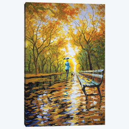 Walking The Dog Autumn Alley 3-Piece Canvas #SFI39} by Sidorov Fine Art Canvas Print