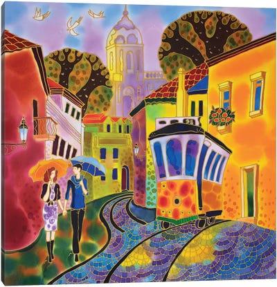 After The Rain Street In Lisbon Portugal Canvas Art Print