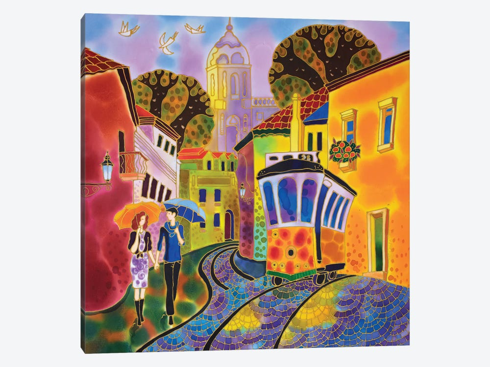 After The Rain Street In Lisbon Portugal by Sidorov Fine Art 1-piece Canvas Print