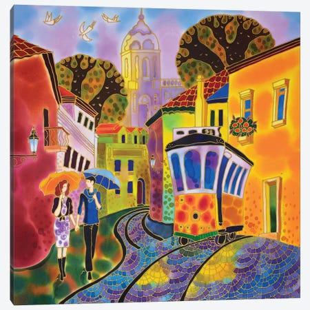 After The Rain Street In Lisbon Portugal Canvas Print #SFI3} by Sidorov Fine Art Canvas Art Print