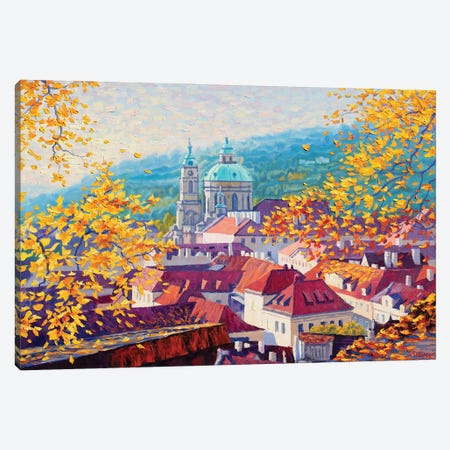 Autumn Morning In Prague Canvas Print #SFI49} by Sidorov Fine Art Canvas Artwork