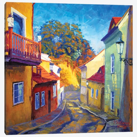 Golden Street Prague Canvas Print #SFI53} by Sidorov Fine Art Canvas Art Print