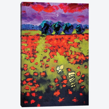 Abstract Landscape. Red Poppies. Canvas Print #SFI62} by Sidorov Fine Art Canvas Art