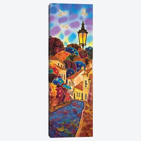 Blue Umbrella. Street In Prague. Canvas Print #SFI90} by Sidorov Fine Art Canvas Art Print