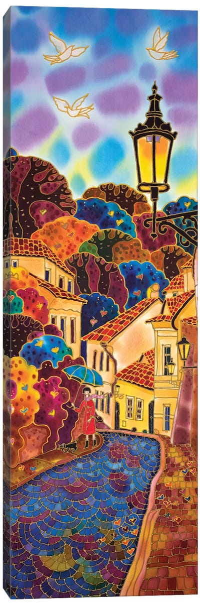 Blue Umbrella. Street In Prague. Canvas Art Print