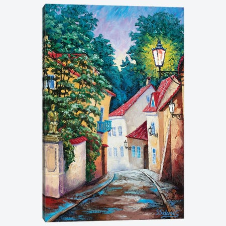 Quiet Street. Prague. Canvas Print #SFI95} by Sidorov Fine Art Canvas Art