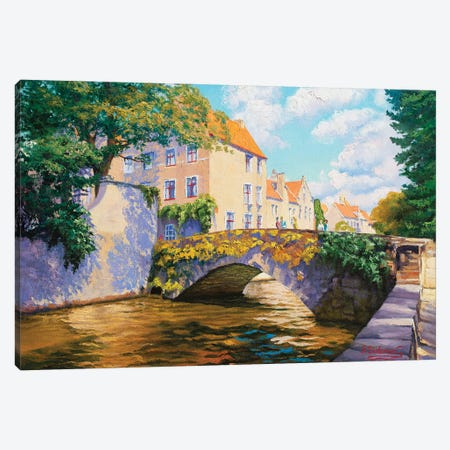 Bright Sunny Day. Canal In Bruges. Canvas Print #SFI96} by Sidorov Fine Art Canvas Wall Art