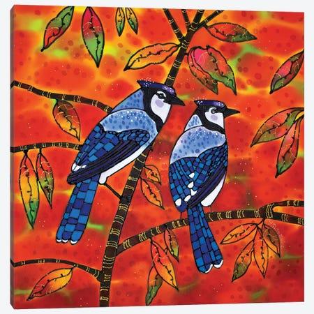 Blue Jays Through The Prism Of Autumn Canvas Print #SFI9} by Sidorov Fine Art Canvas Art Print
