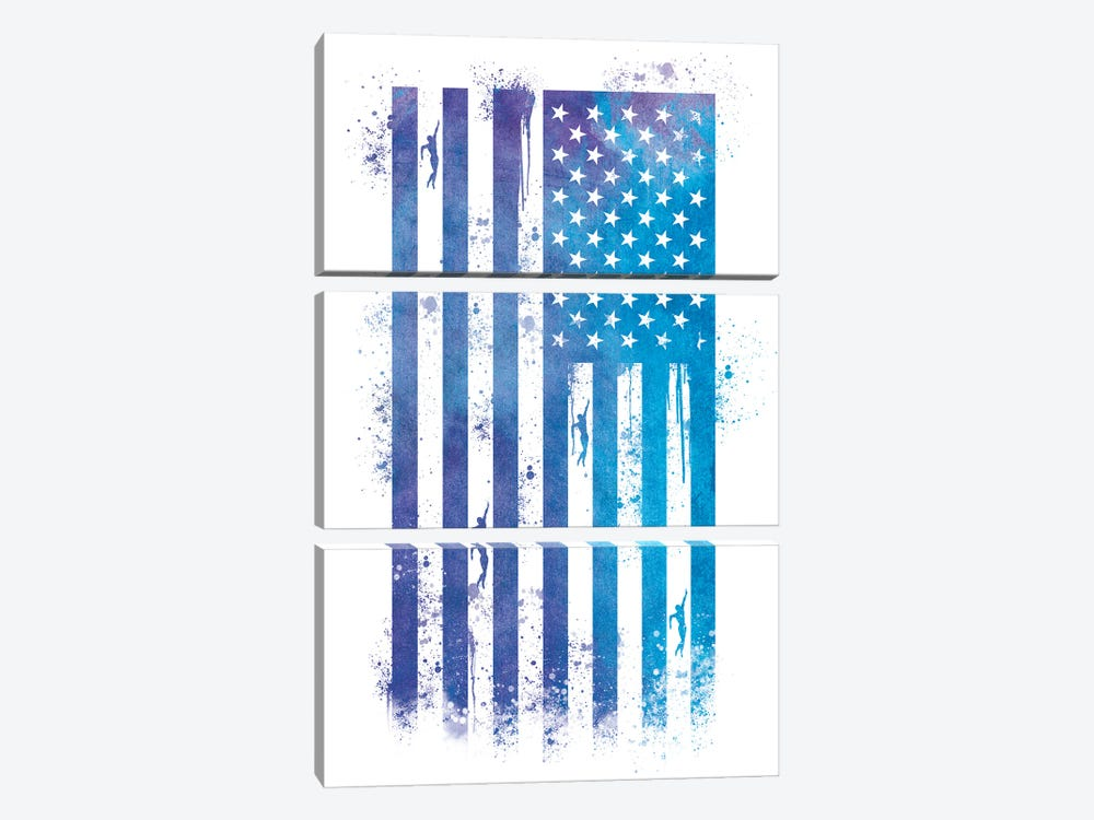 Swimming Sports Flag by 5by5collective 3-piece Canvas Print