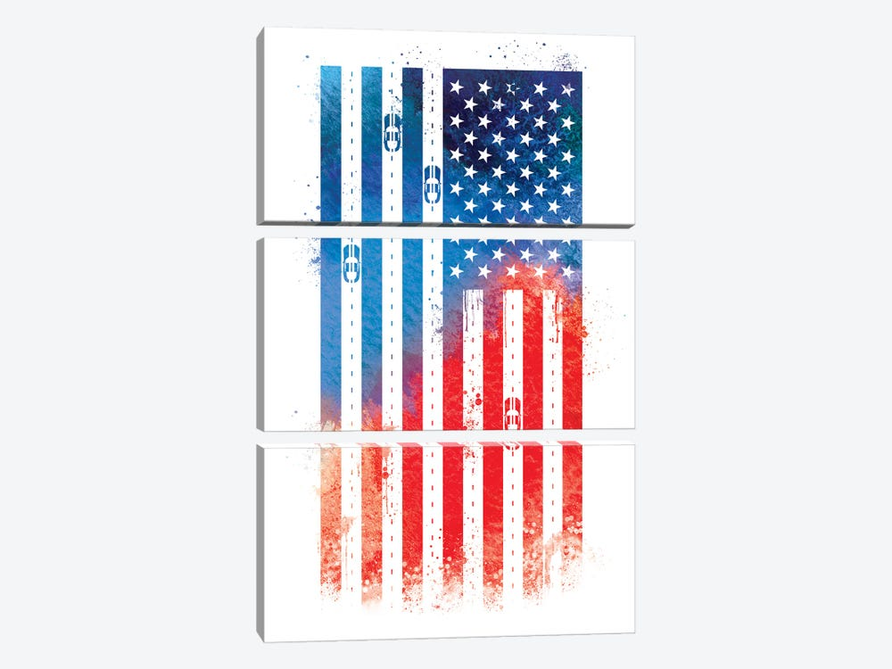 Auto Racing Sports Flag by 5by5collective 3-piece Canvas Wall Art