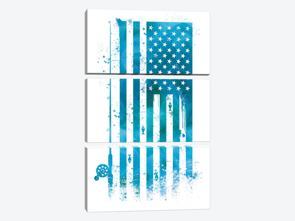 Fishing Sports Flag by 5by5collective 3-piece Art Print