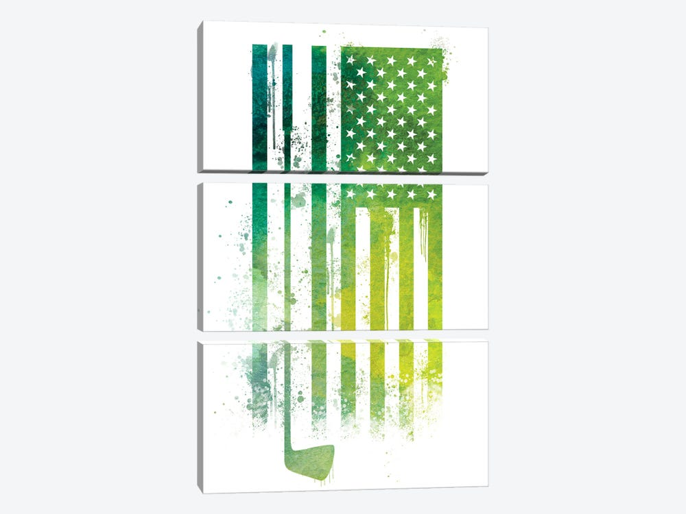 Golf Sports Flag by 5by5collective 3-piece Canvas Print