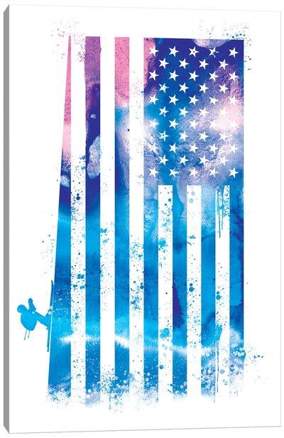 Skiing Sports Flag Canvas Art Print