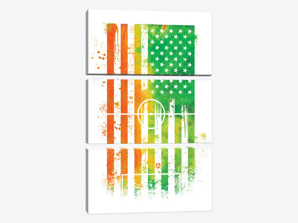 Soccer Sports Flag by 5by5collective 3-piece Canvas Print
