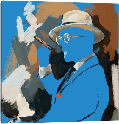 Cigar Lounge In Blue Canvas Art Print