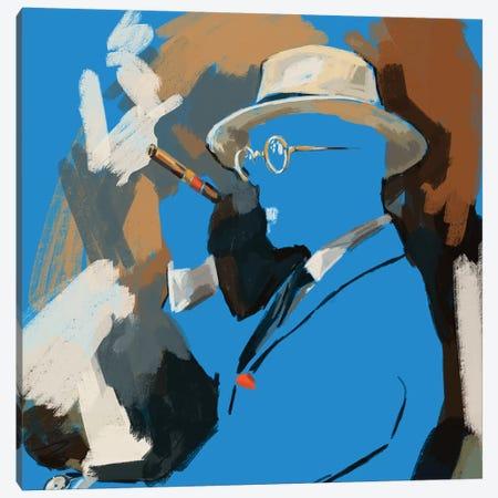 Cigar Lounge In Blue Canvas Print #SFM100} by Sunflowerman Canvas Artwork