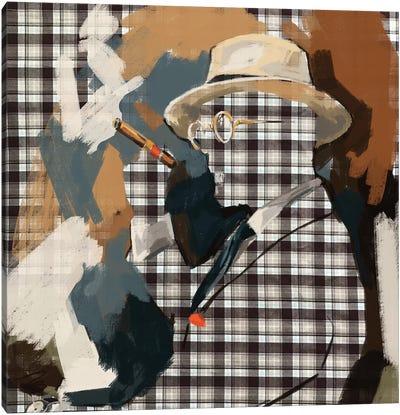 Cigar Lounge In Tartan Canvas Art Print