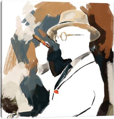 Cigar Lounge In White Canvas Art Print