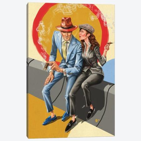 Pitti Uomo Pair Canvas Print #SFM14} by Sunflowerman Canvas Wall Art