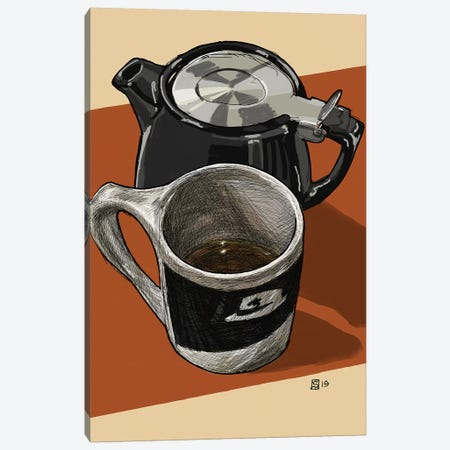 Tea Time With Houndstooth Canvas Print #SFM39} by Sunflowerman Art Print