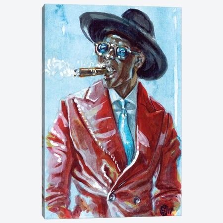 A Man and His Cigar Canvas Print #SFM61} by Sunflowerman Canvas Artwork