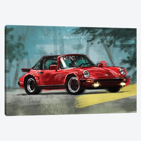 Porsche Air Cooled Red Canvas Print #SFM63} by Sunflowerman Canvas Wall Art