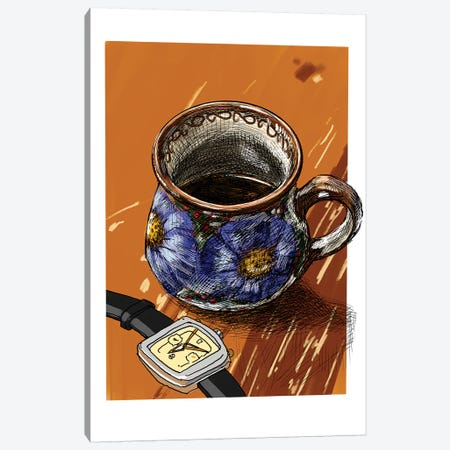 Watches And Coffee I Canvas Print #SFM75} by Sunflowerman Canvas Art