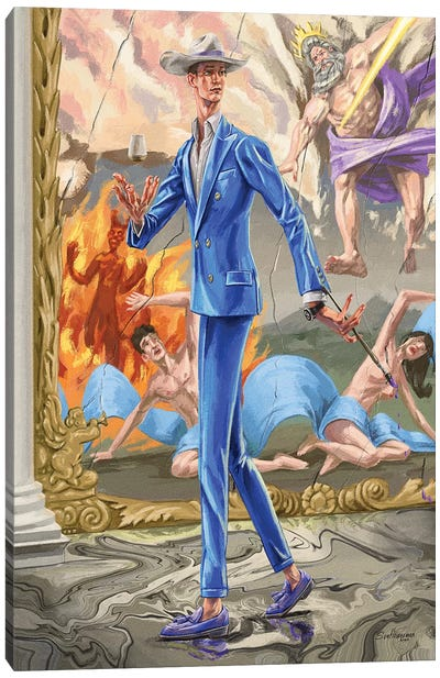 Absurdity Of The Gods. In Blue. Canvas Art Print