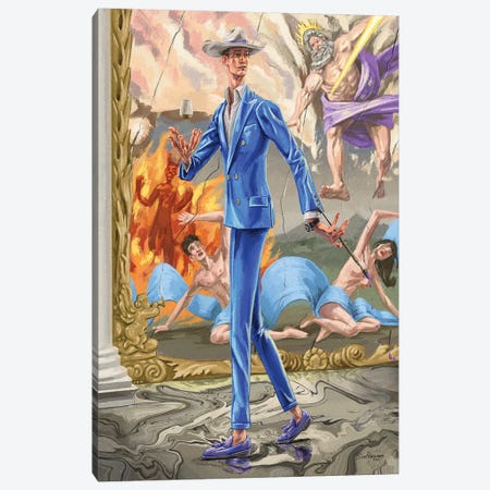 Absurdity Of The Gods. In Blue. Canvas Print #SFM95} by Sunflowerman Canvas Art