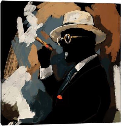 Cigar Lounge In Black Canvas Art Print