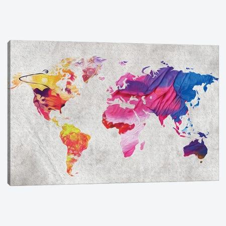 World Map Urba Watercolor Canvas Print #SFP45} by Sergio Feldmann Pearce Canvas Art