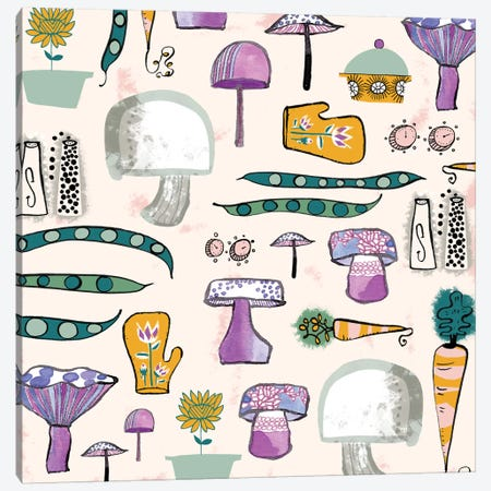 Mushroom Kitchen Canvas Print #SFR101} by Sara Franklin Canvas Art Print