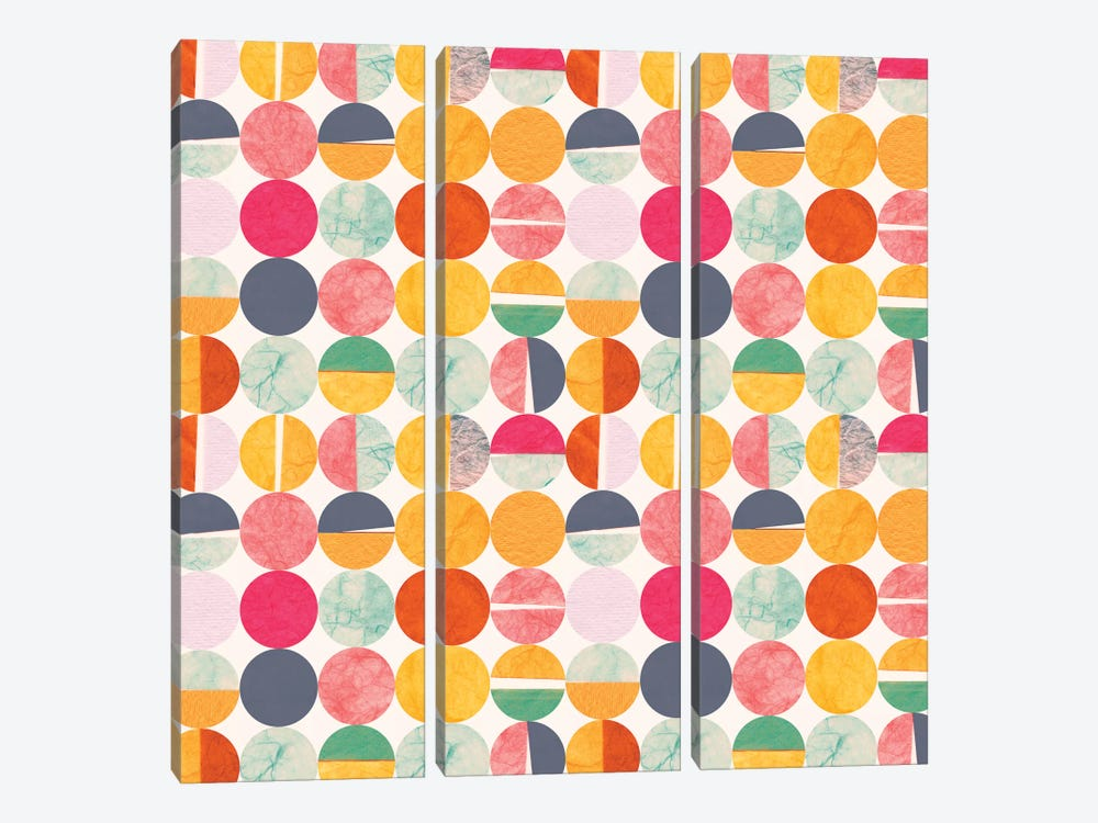 Paper Dots by Sara Franklin 3-piece Canvas Print