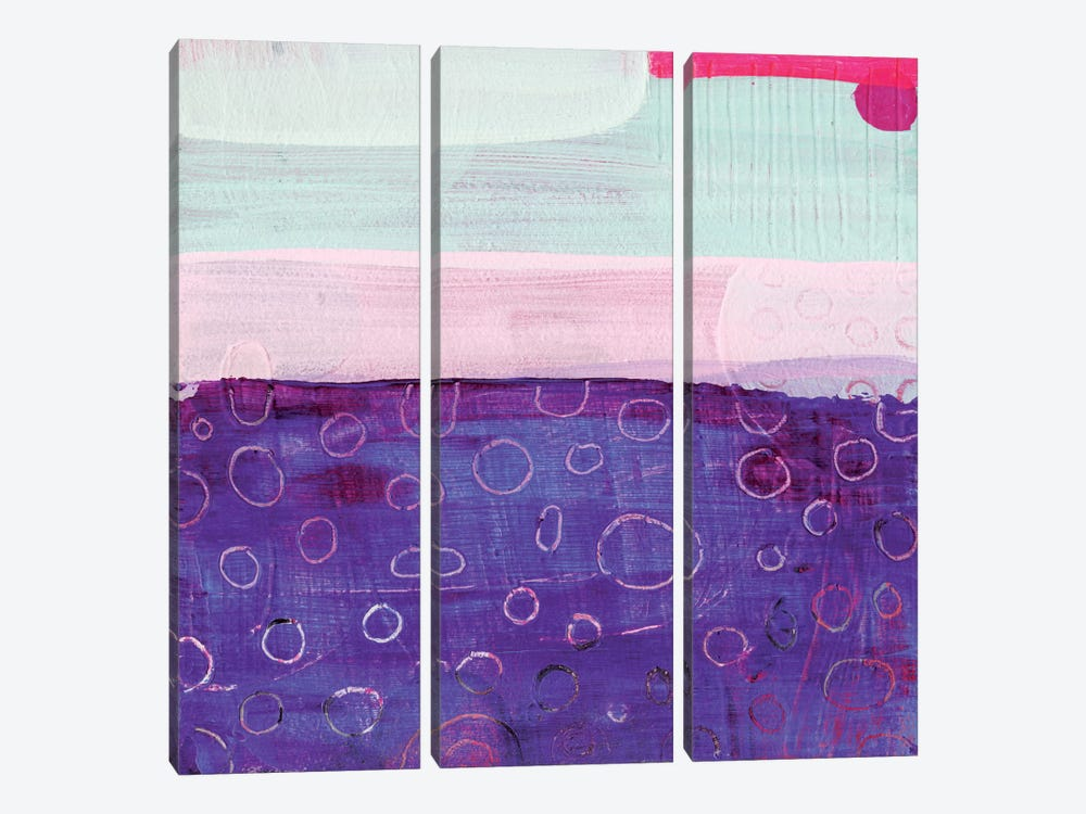 Pink And Purple by Sara Franklin 3-piece Canvas Wall Art