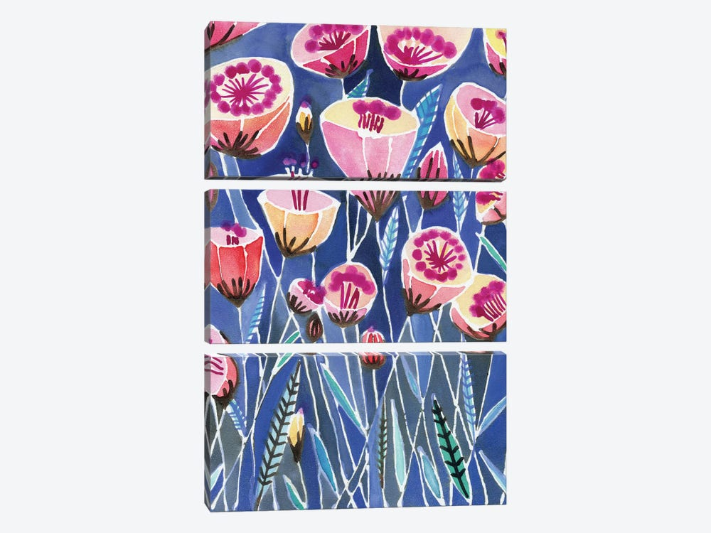 Poppies Of Caliofornia by Sara Franklin 3-piece Canvas Print
