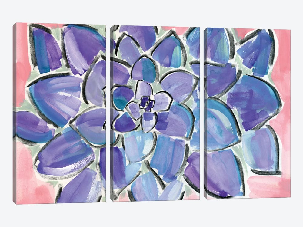 Purple Succulent by Sara Franklin 3-piece Canvas Wall Art