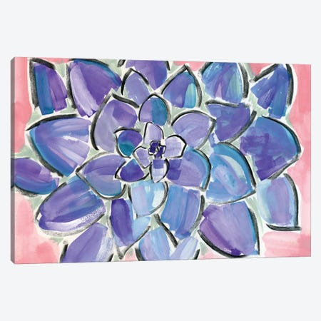 Purple Succulent Canvas Print #SFR126} by Sara Franklin Canvas Wall Art