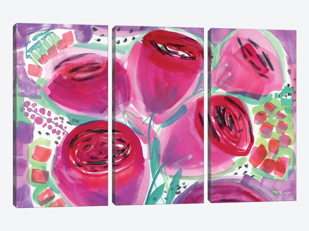 Red Roses by Sara Franklin 3-piece Canvas Wall Art