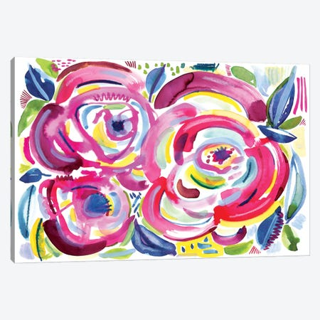 Roses In Bloom Canvas Print #SFR133} by Sara Franklin Canvas Wall Art