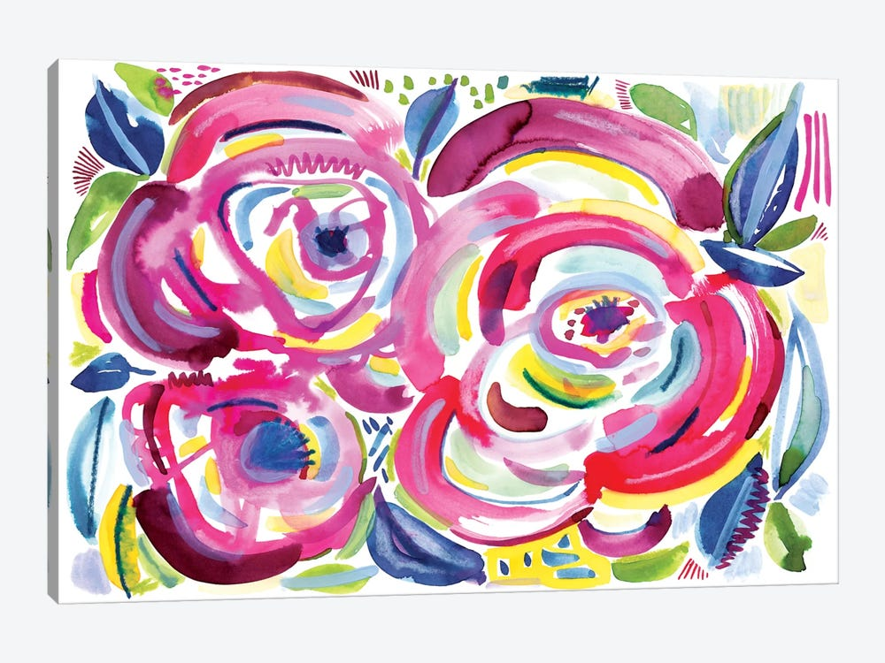 Roses In Bloom by Sara Franklin 1-piece Canvas Artwork