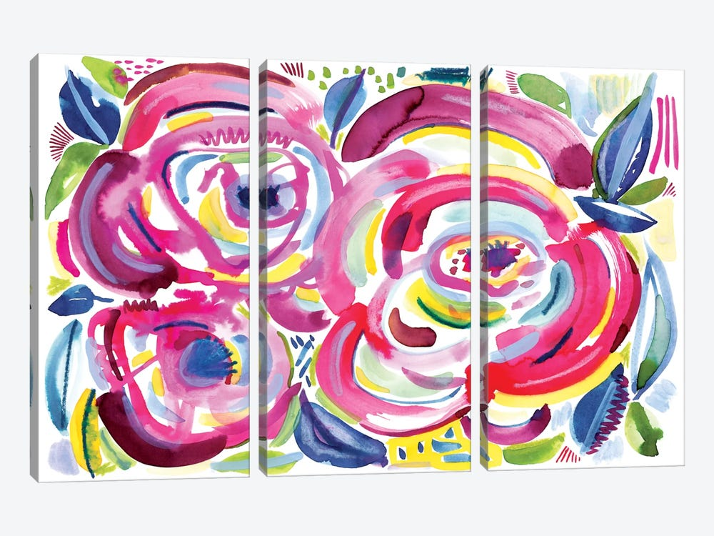 Roses In Bloom by Sara Franklin 3-piece Canvas Art