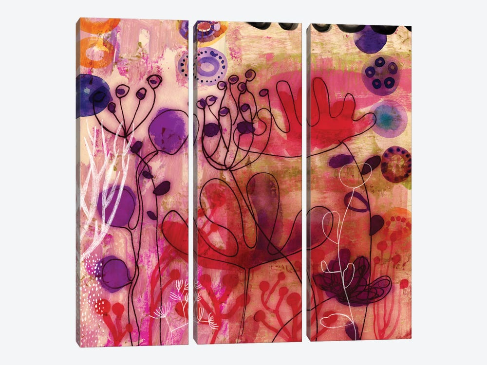 Sea Flowers by Sara Franklin 3-piece Canvas Print