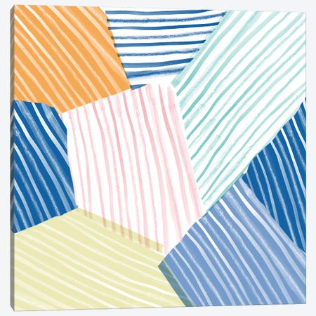 Sea Stripes Canvas Print #SFR139} by Sara Franklin Canvas Artwork